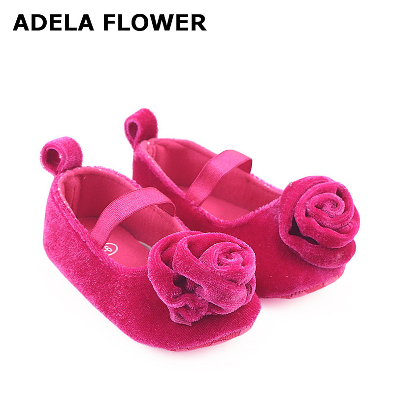 Adela Flower Cute Princess Infant Girl Shoes With Big Flower 7 Colors Baby Girls Newborn Kids Soft Soled Shoes calzado nina ...