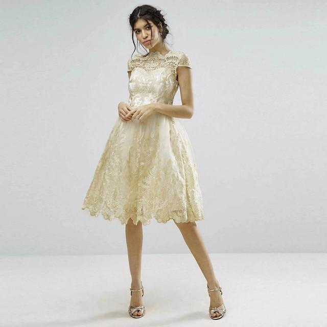 Frauen Spitze Lolita Elegante Kleid Stickerei Abschlussball formale ...
