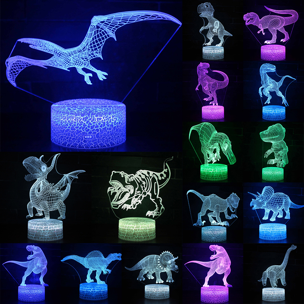3D LED Night Light Lamp Dinosaur Series 16Color 3D Night light  Remote Control Table Lamps Toys Gift For kid Home Decoration D23 2