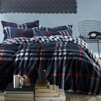 Mens Plaid Stripe Reactive Print 4pc Bedding Set Blue 100 Cotton Bedclothes King Queen Size Duvet