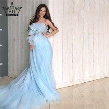 Elegante Sin Tirantes Azul Clara Fotografía Vestidos de Noche para Las Mujeres Embarazadas Suave Tul Largo Árabe Vestido De Festa Real Photo