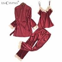 Lisacmvpnel 3 Pcs Sexy Ice Silk Women Robe Sets Nightgown Robe Pant Sets Women Bathrobe Elegant