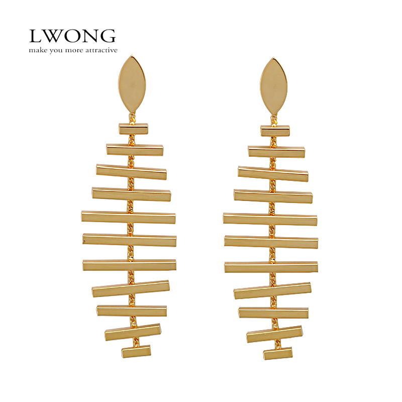 LWONG Unique Fishbone Geometrical Drop Earrings for Women Gold Color Multi Bar Metal Earrings High Quality Factory Wholesale