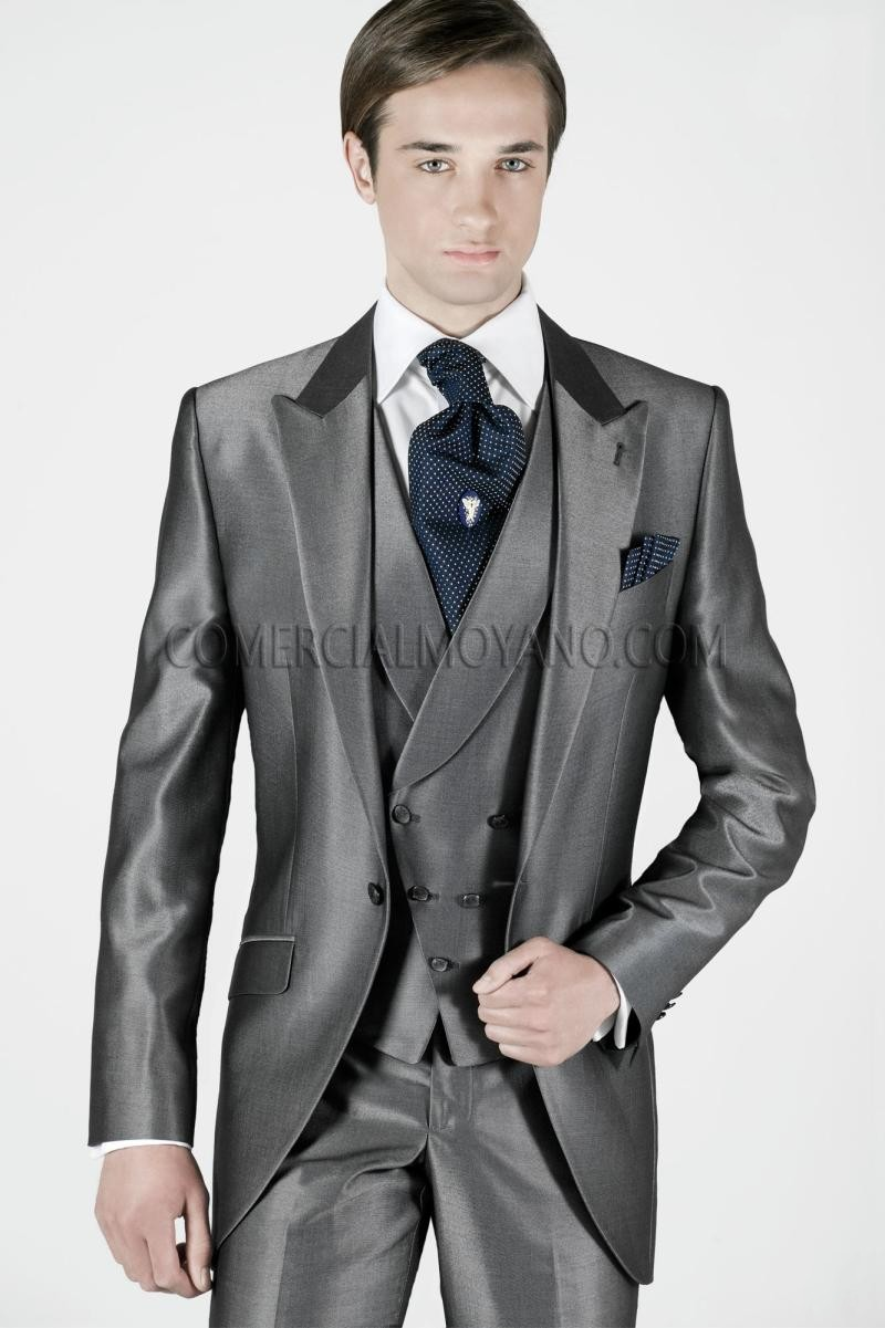 Brand New Groom Tuxedo Shiny Grey Groomsmen Peak Lapel Wedding/Dinner Suits Best Man Bridegroom (Jacket+Pants+Tie+Vest)B338