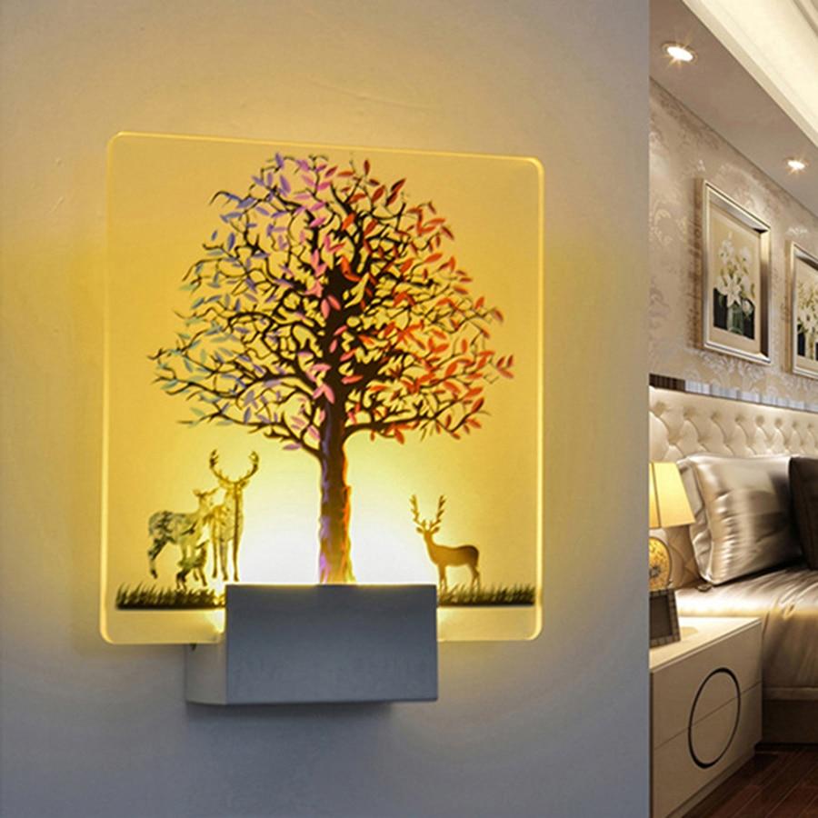 LED Wall Lamp AC 110V 220V Acrylic Wall Light for Bedroom Living ...