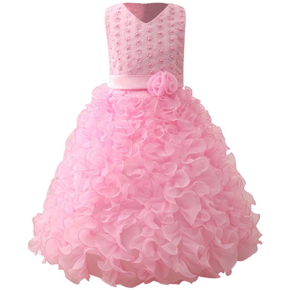 Girls Beading Bodice Ruffle Party Wedding Communion Pink Flower Dress Girls Birthday Party Princess Dress