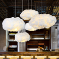 Креативный белый облако подвесной светильник AC110V-220V шелк хлопок E27 светодиодный лестничная площадка подвесные светильники для кофейного м...