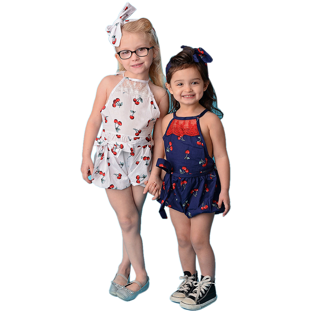 2017 Spring Summer Fashion Casual Baby Girls Bodysuit Toddlers Cherry Print Suspender Outfit Jumpsuit Clothes Dress