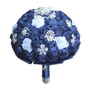 Image 4 - WifeLai A Diamond Navy Blue Bridal Brooch Wedding Bouquets De Noiva de mariage Holding Satin Bouquets On Sale W293