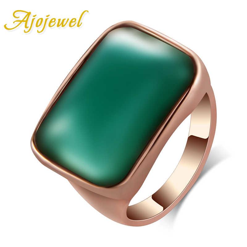 Ajojeel ยี่ห้อขนาด 7 & 8 & 9 สีเขียวแหวนผู้หญิงคลาสสิกหมั้นแหวนแต่งงาน Anel เครื่องประดับ