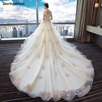 Robe De Mariee/винтажное кружевное свадебное платье большого размера цвета шампанского с цельнокроеным коротким рукавом с аппликацией жемчуга, с
