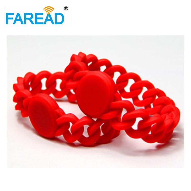 Free Shipping  X100pcs RFID 125khz EM4100 Wristband Waterproof Silicone Bracelet