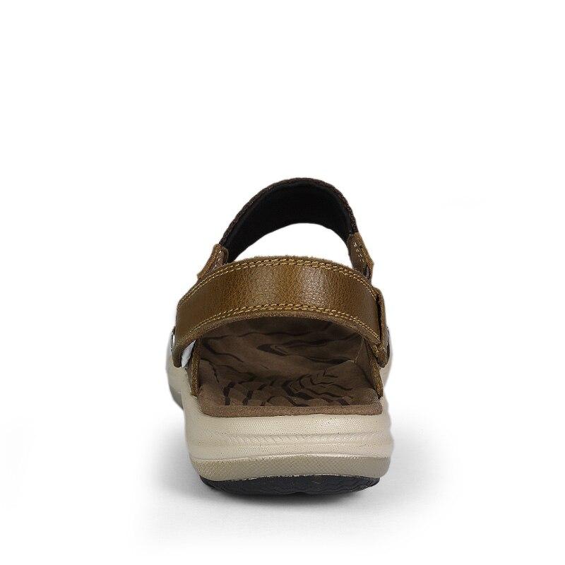 Hombres Genuino Transpirables caqui marrón Zapatillas Cuero Los Casuales Tamaño Sandalias Plus Moda 36 Negro Zapatos 47 De Verano aqYOxzTw