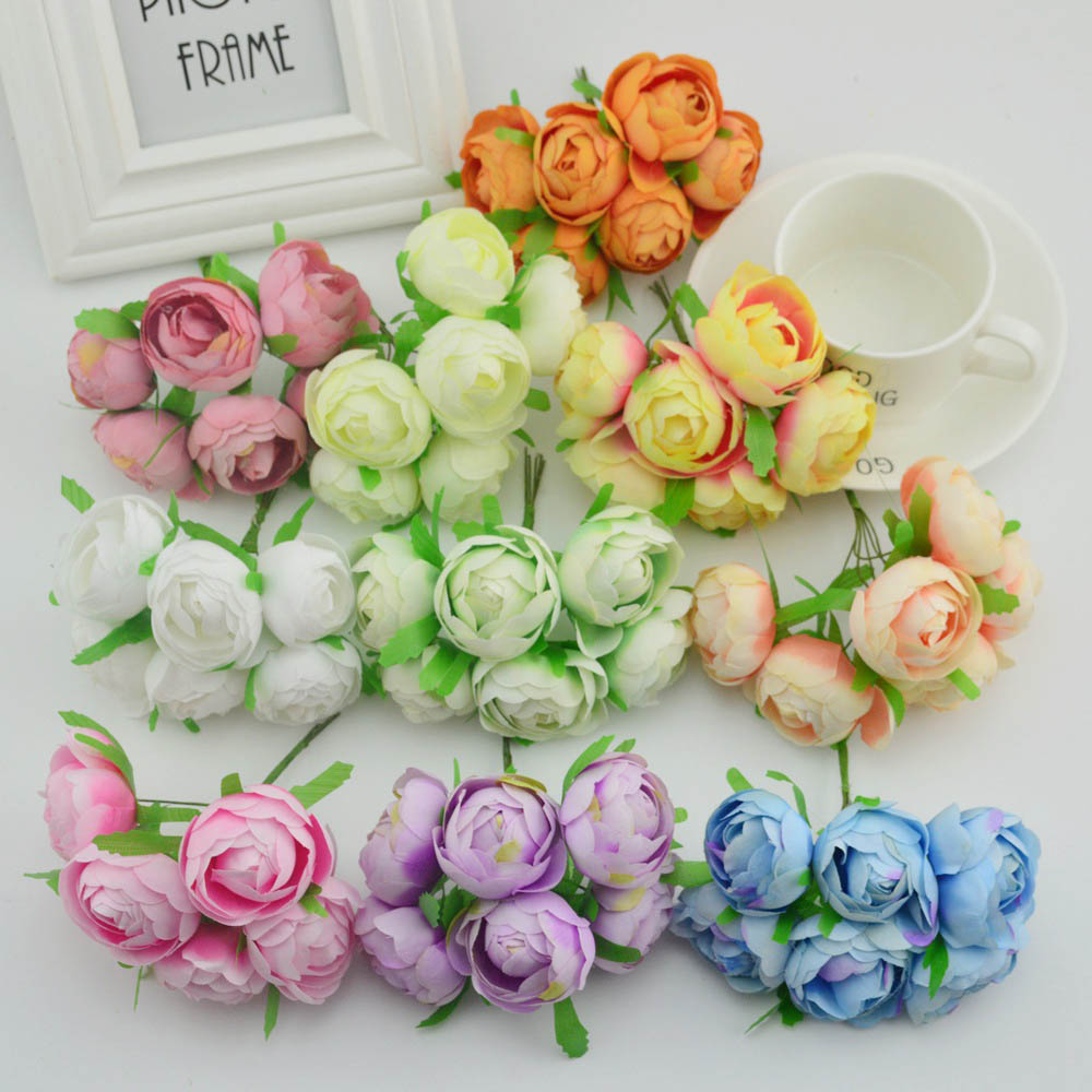 6pcs Silk roses tea bud bride bouquet wedding flower fake pompon diy gifts box wreath Artificial flowers for home decoration