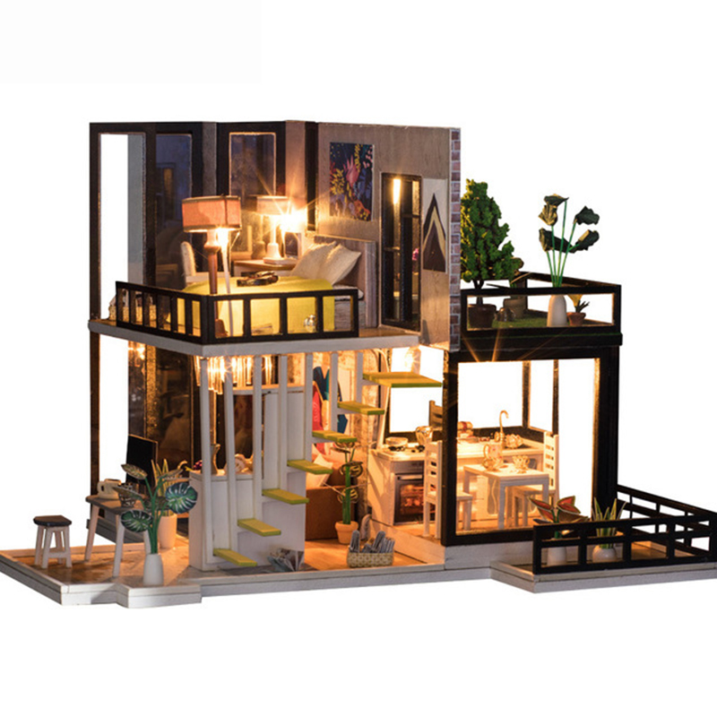 KEOL-DIY Doll House Wooden Miniature dollhouse Miniature Doll House With Furniture Kit Villa LED Lights Birthday Gift