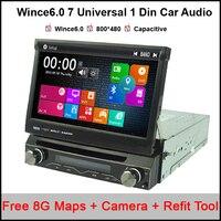 Бесплатная 8 г карты 7 Универсальный 1 Дин Аудио DVD плеер + радио + gps навигации + радио + стерео + Bluetooth + DVD Automotivo + SD USB RDS Aux