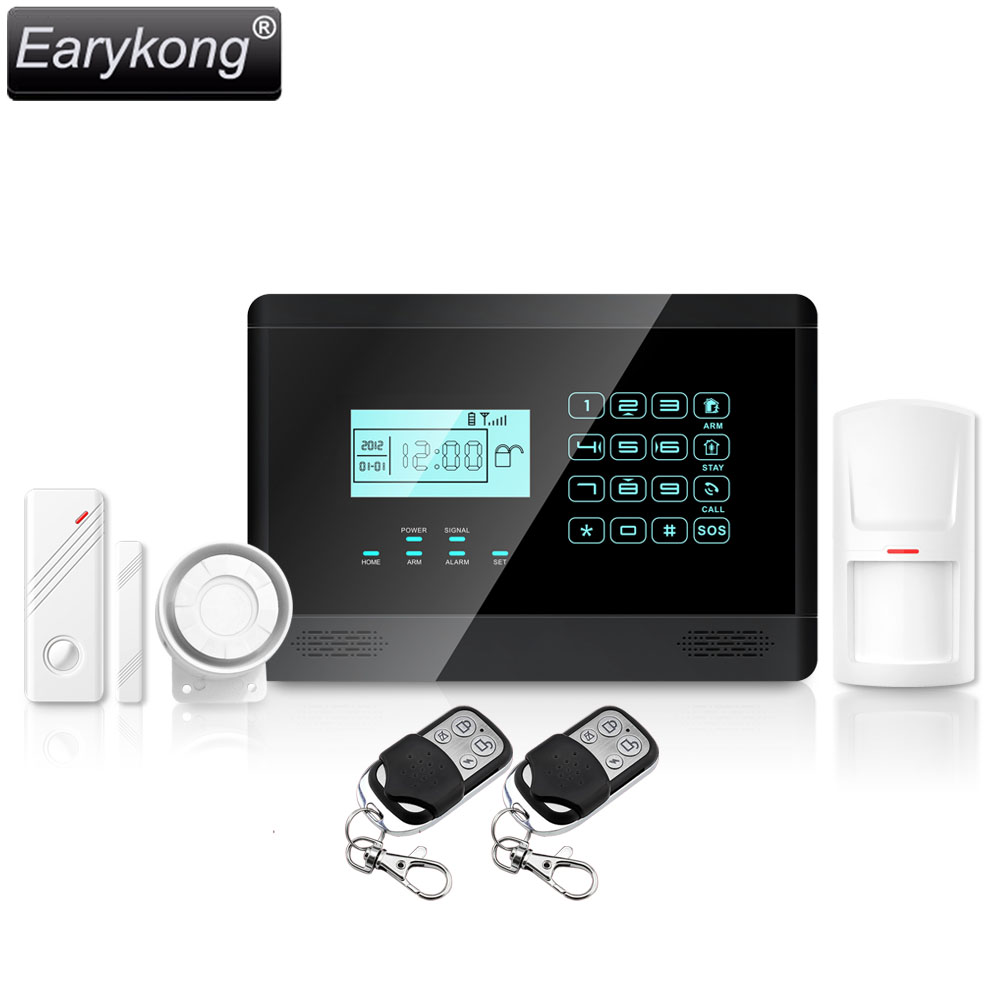 Free Shipping Wholesale Wireless GSM Alarm System  Auto Dail with LCD Touch KeyBoard Voice door PIR Detector, New Earykong M2E new restaurant equipment wireless buzzer calling system 25pcs table bell with 4 waiter pager receiver