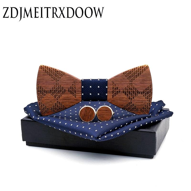 Wooden Bow Tie Set Men BowTie And Handkerchief Cufflinks Handkerchief Printing Necktie For Wedding Party Hombre Christmas Gift