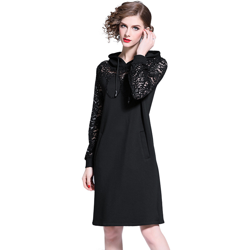 Luxury Famous Design Hooded Dress Women's 2019 Spring And Autumn New Lace Stitching Beads Black Casual Clothes EA0069