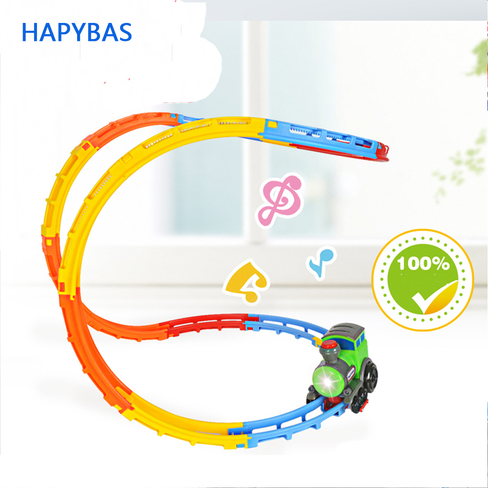 Innovativ music tumble rolling train DIY electric ABS flashing light music creative exercise rail car toy best gift for children hot sale 360 degree rotation smart space electric robot dancing music light toys best creative gift for kids children fl