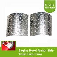 2Pcs Chrome Aluminium Alloy Engine Hood Armor Side Cowl Cover Trim Protector For Jeep Wrangler 2007