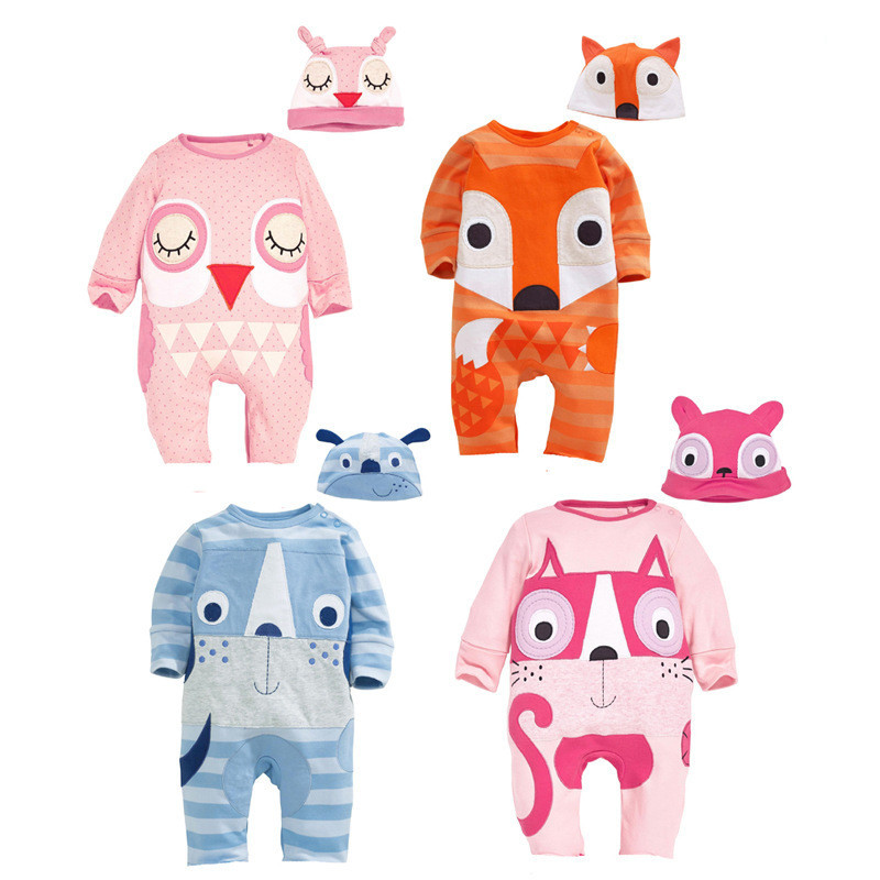 New Animal Baby Rompers Newborn Baby Girl Clothes Cute Cartoon Fox Baby Boy Rompers Uniex Baby Costume And Hat the new children s cubs hat qiu dong with cartoon animals knitting wool cap and pile