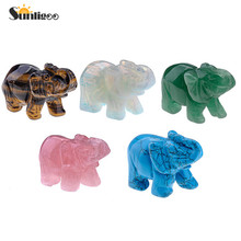 Sunligoo 1 pc Natural Rose Quartz/Aventurine/Tiger Eye/Opalite Carved Gemstones Elephant Figurine 2''inch Stones Room Decoration