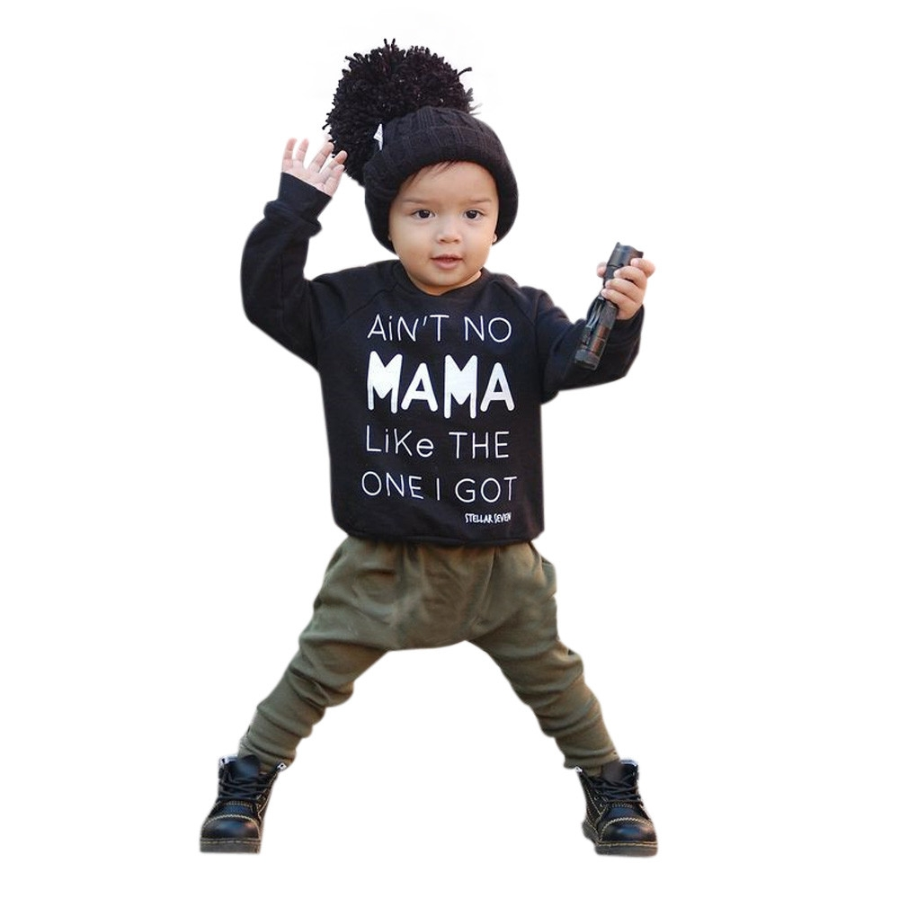 TELOTUNY children set Polyester children boys clothes Letter Baby Kids Set Clothes Long Sleeve Print T-shirt +Pants Outfits oct