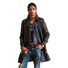 New Popular Men Genuine leather medium long thin leather clothing male sheepskin casual slim business suit
