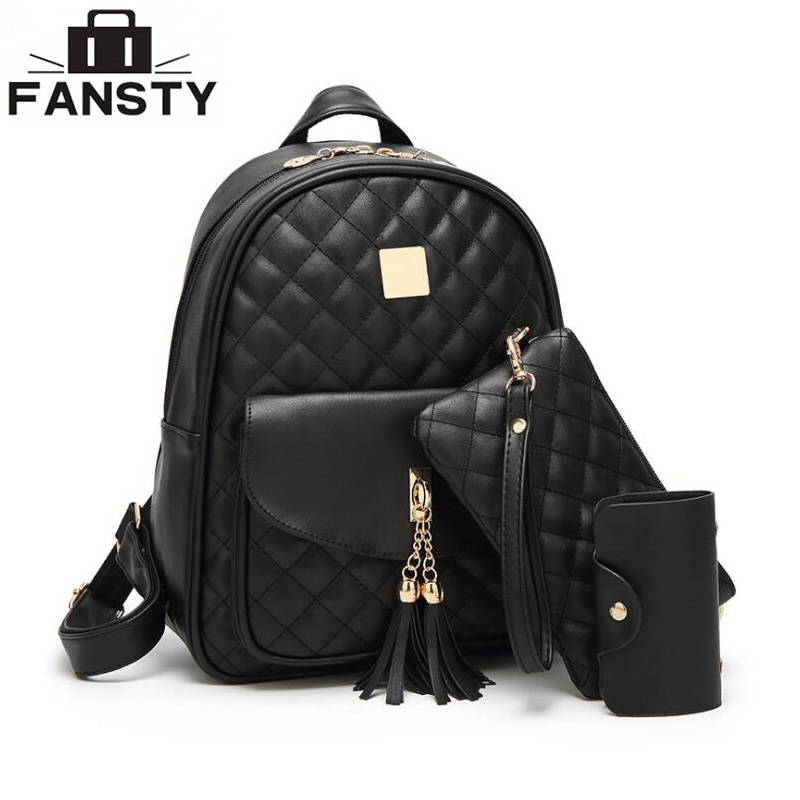 60556f4106 Famous Brand Women Backpack Pu Leather School Backpacks for Teenage Girls  Tassel Shoulder Bag Large Plaid Travel Bags Set
