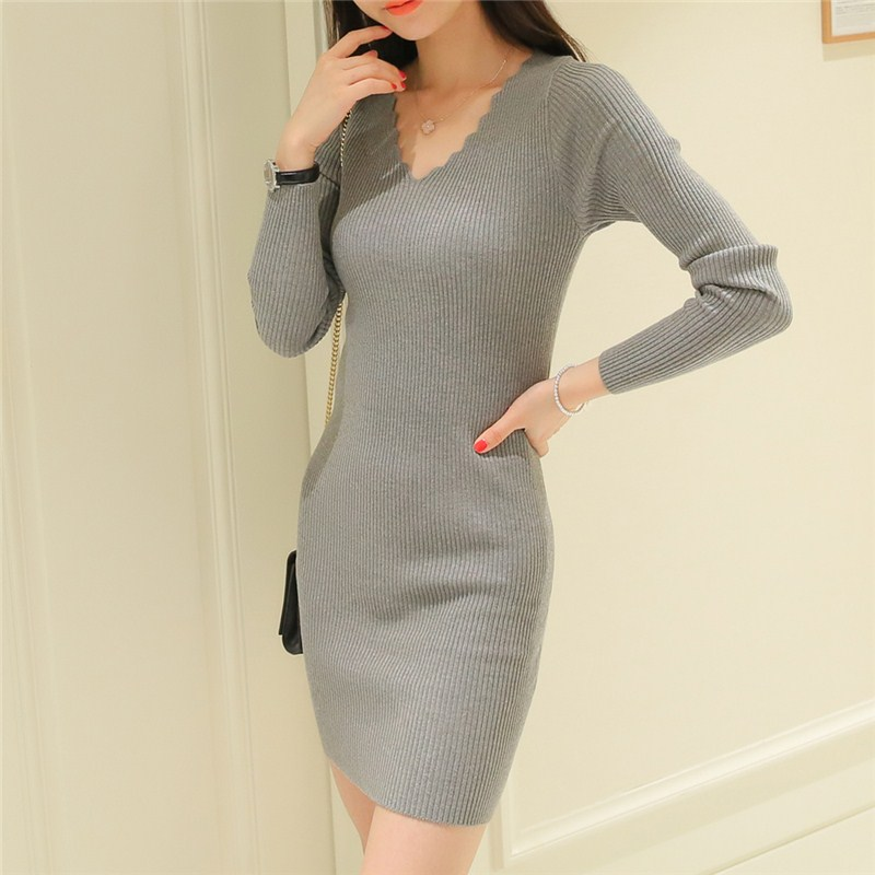 2018 Korean Casual Autumn Winter Women Knitted Dress V Neck Long Sleeve Solid Slim bodycon Sexy Mini Pullover Sweater Dress