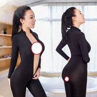 2017 Sexy Open Crotch Black Striped Sheer Body Stocking Bodysuit Erotic Lingerie Women Double Zipper Stranger