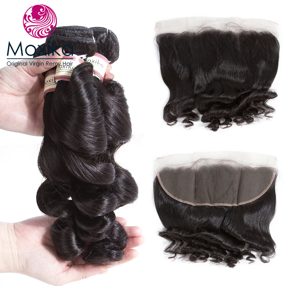 Moxika Hair Loose Wave Bundles With Closure Frontal Remy Malaysian Human Hair Bundles With Closure With