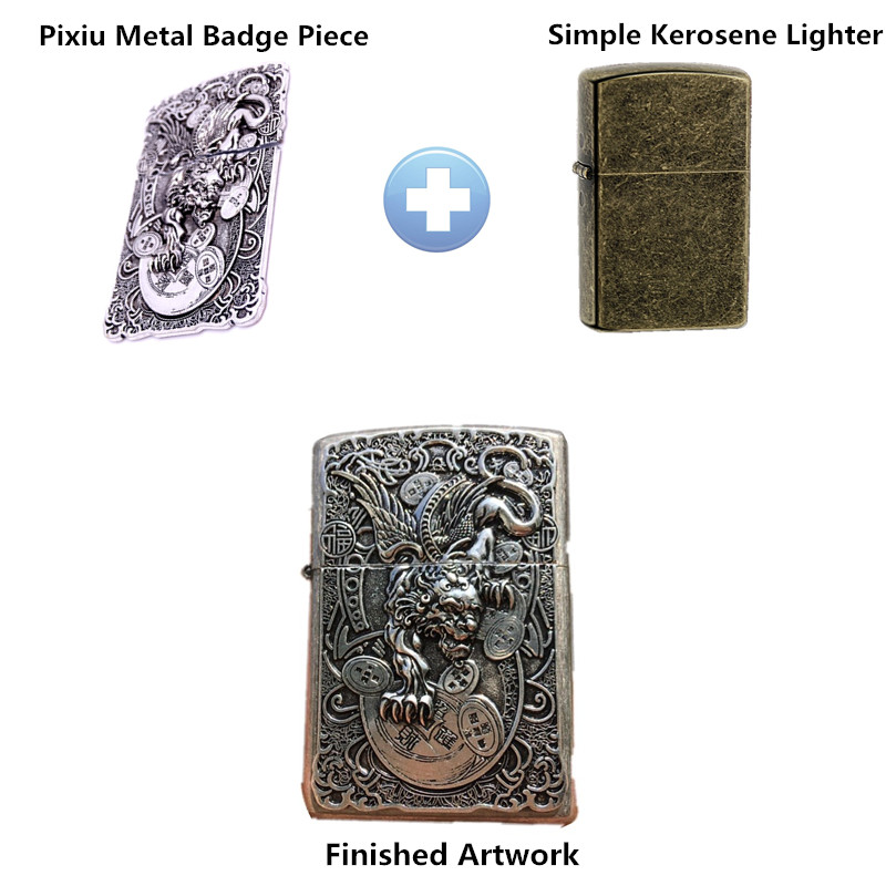 1pc Pixiu Metal Badge DIY replacement for Zippo Kerosene Oil Lighter Decoration Glue