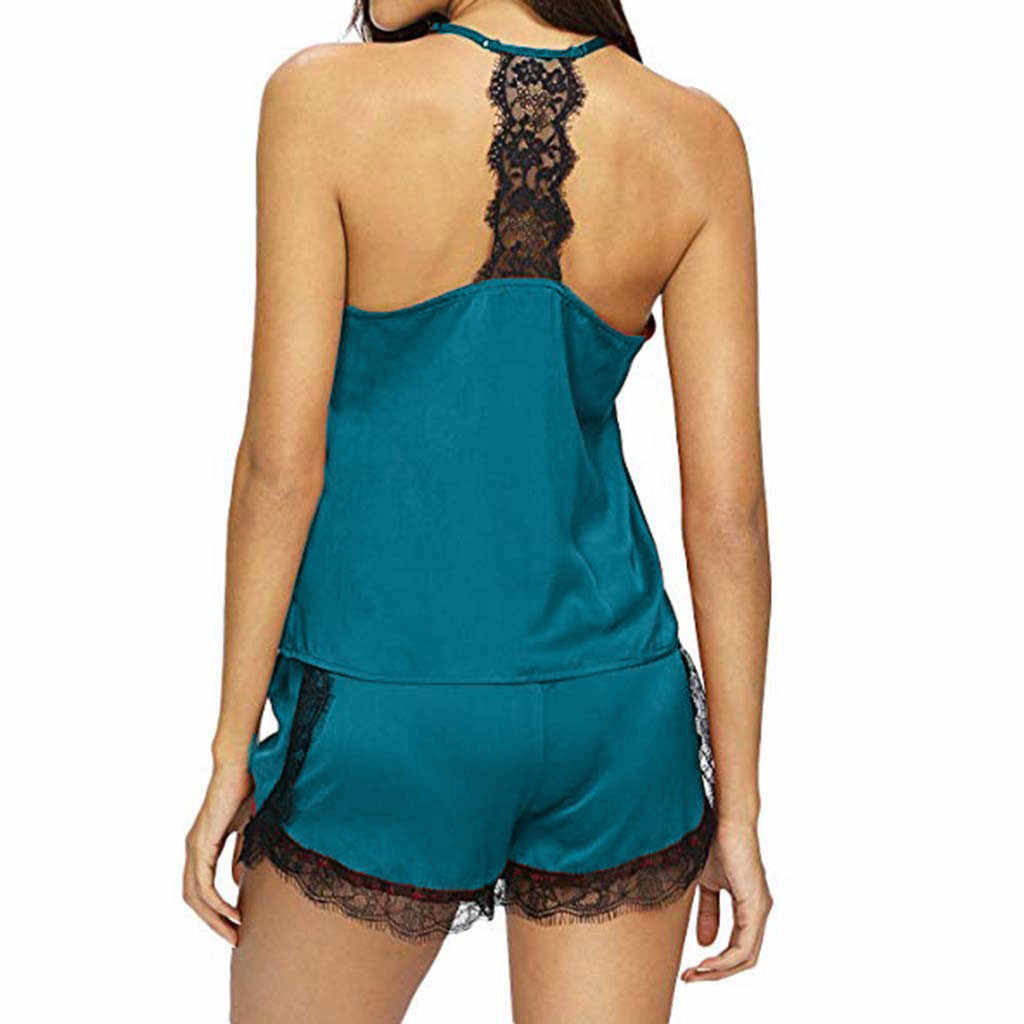 Sexy Kant Pyjama Nachtkleding voor Vrouwen Zomer Mouwloze Spaghetti Band Pyjama Satin Cami Top + Shorts Pyjama Sets Nachtkleding