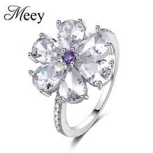 Best-selling new standard 925 Sterling Silver Lady ring classic fashion quality transparent gemstone engagement party
