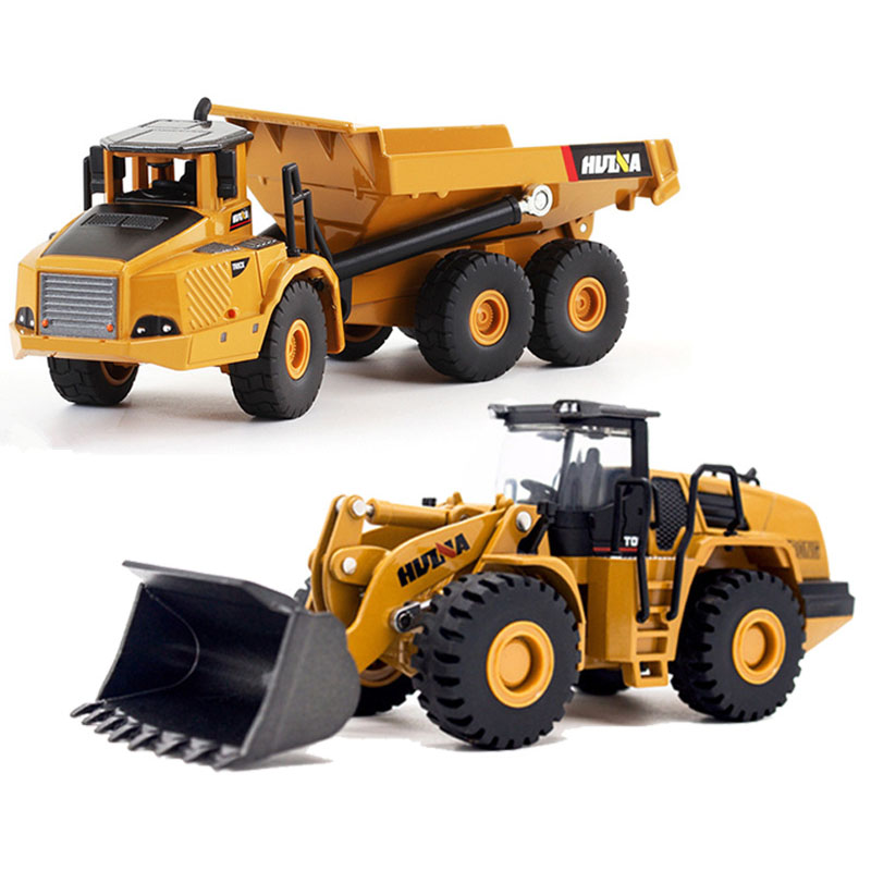 2pcs 1:50 Construction Car Toys Transport Articulated Dump Bulldozer Truck Model Car Toys For Children