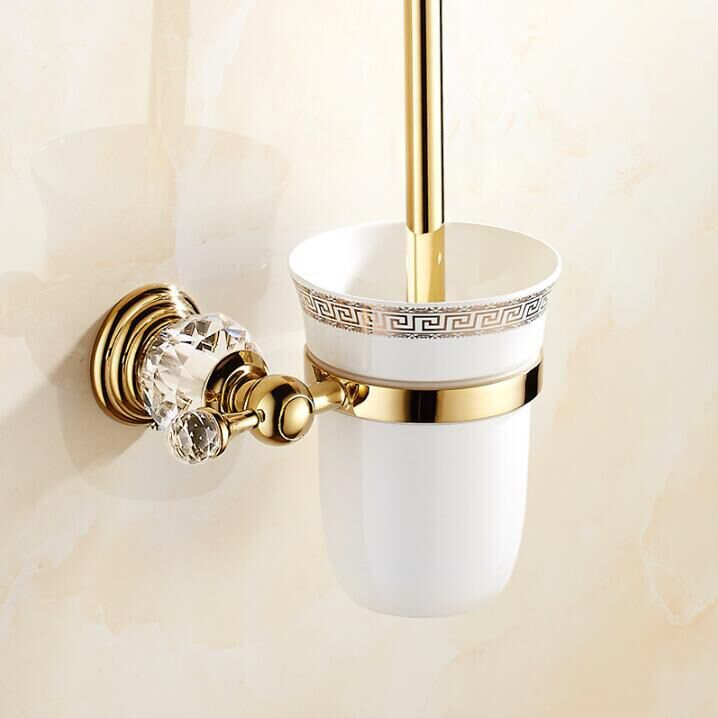 European style Brass Crystal Toilet Brush Holder,Gold Plated Toilet brush Bathroom Products Bathroom Accessories useful european luxury bathroom accessories antique bronze toilet brush holder bath products high quality free shipping