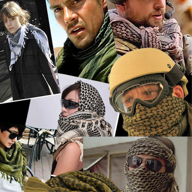Outdoor Sport Hiking Head Scarves Military Tactical Desert Scarf Army  Shemagh With Tassel Men Women Climb Neck Wrap 46b1f6b66ff1