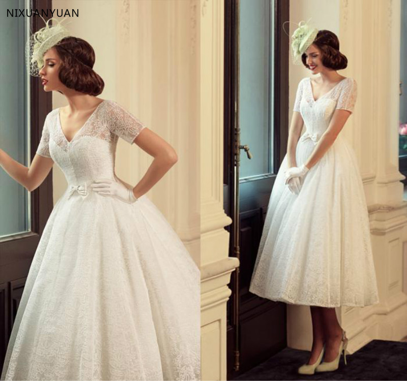 2020 Full Lace Vintage Wedding Dresses With Short Sleeve Bow Vestidos De Novia Tea Length A Line Romantic Bridal Gowns