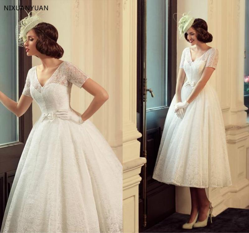 2020 Full Lace Vintage Wedding Dresses With Short Sleeve Bow Vestidos De Novia Tea Length A Line Romantic Bridal Gowns