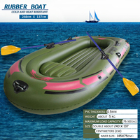 SGODDE 94.4''x53.9'' Kayaking 2 Person PVC Rubber Green Kayak Inflatable Boat With Air Pump Oars Rope Fishing Boat