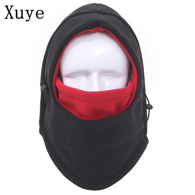 XUYE winter outdoor thick double-side fleece windproof head warmer hats men women riding cycling face mask caps Skullies Beanies