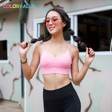 Colorvalue Crisscross Straps Sports Bras Women Sexy V-Neck Yoga Bra Push Up Solid Fitness Gym Bra Removable Pads Jogging Bra Top
