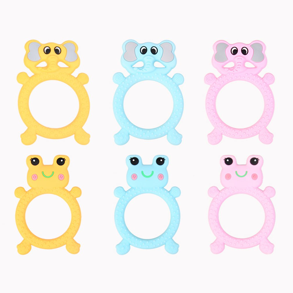 Elephant Frogs ring silicone molar gel Baby Teether Pacifier Cartoon Teething Nursing Silicone BPA Free Necklace Toys 2018 New