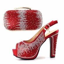 943af987c Zapatos de color rojo y bolsa mujeres Juego 5 pulgadas Sandalias Zapatos  con embragues bolso con muchos rhinestones tamaño 38-42.