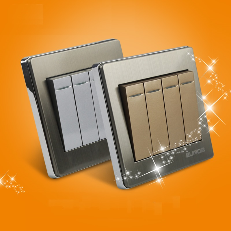High Quality E9 Series Brushed Stainless Steel Gold Wall Switch With Fluorescence 4 Gang 1 Way Single Control Switch Panel fluorescence yellow high visibility