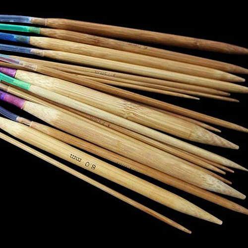 18 ชิ้น 18 ขนาดหลอด Circular Carbonized ไม้ไผ่ถักเข็ม Pins 40 ซม. - 120 ซม. DIY เย็บเสื้อผ้า & ผ้า