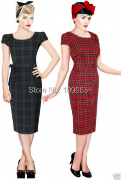 free shipping NEWCHIC VINTAGE 1950 s 1960 s font b tartan b font pencil wiggle dress