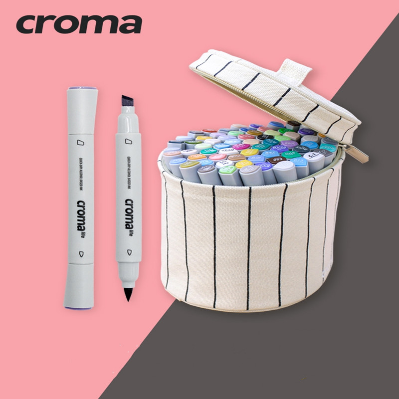 Croma Art Soft  Markers Pen Set 12/24/36/48Colors Sketch Marker Dual Head Drawing Art Brush Pens Oily Alcohol